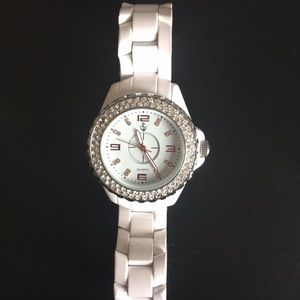 Ladies Premier rose gold face bling white watch